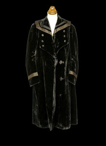 Vintage Antique Edwardian Black Velvet Coat
