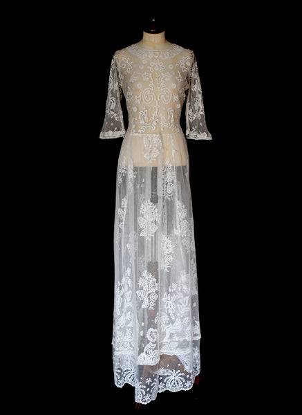 Antique Edwardian Ivory Lace Tulle Wedding Dress