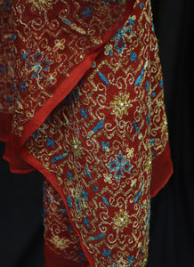 Vintage 1930s Red Gold Tambour Embroidered Silk Shawl Wrap