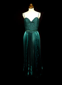 Emerald Green Pleated Satin Evening Dress