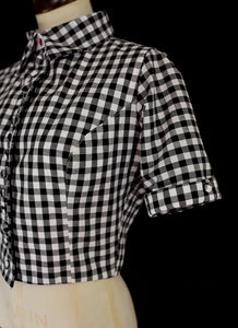 Gingham Cotton Blouse Jacket