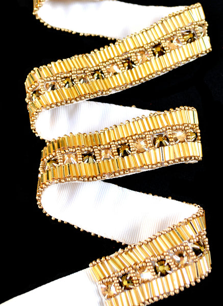 Gold Art Deco Hand Beaded Sash Belt