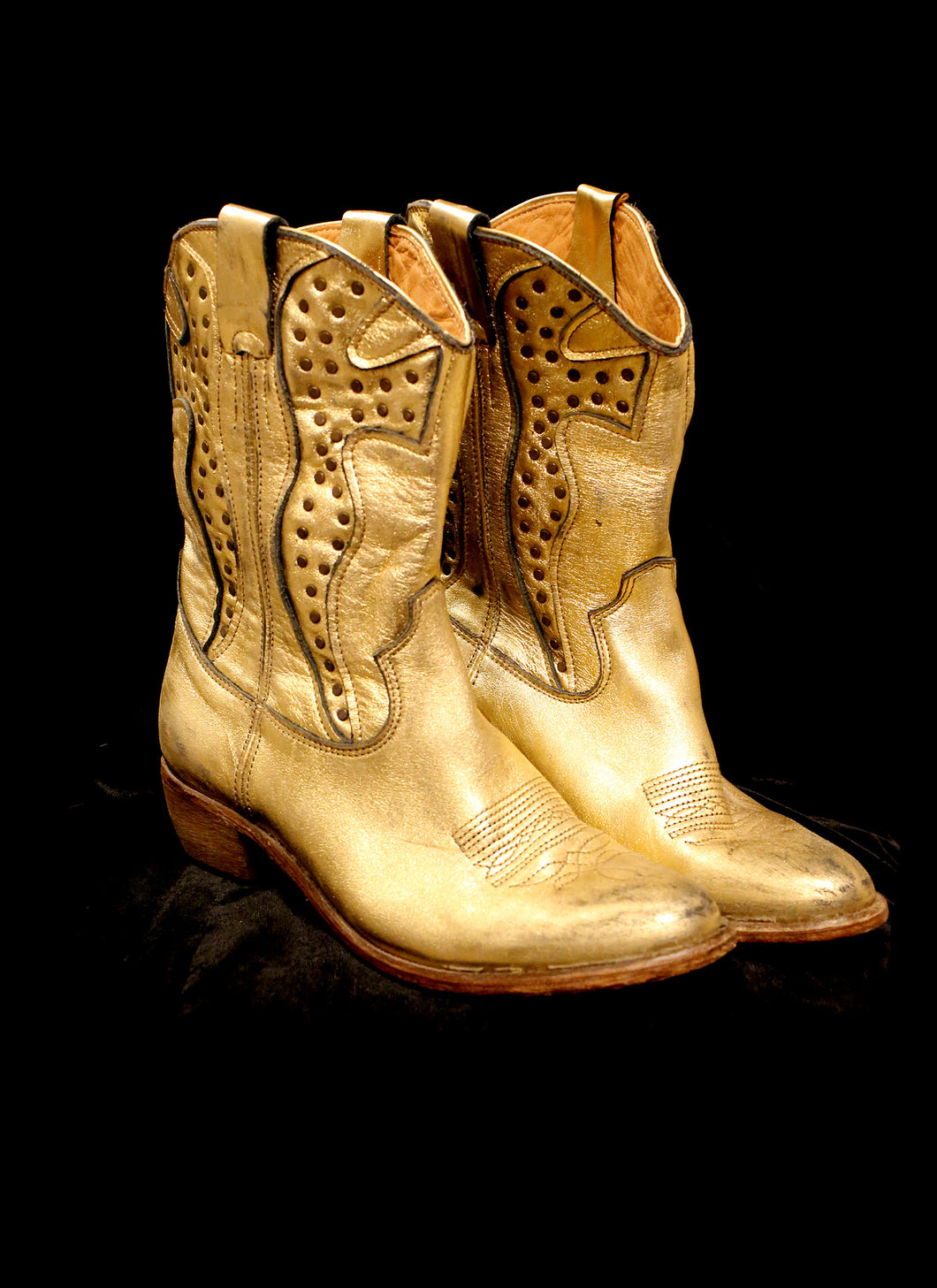 Gold Leather Cowboy Boots
