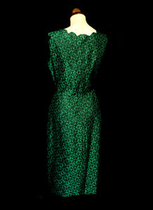 Vintage 1950s Green Brocade Wiggle Dress and Wrap