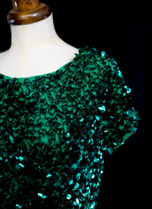 Vintage 1960s Emerald Green Sequin Top