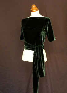 Green Silk Velvet Wrap Top