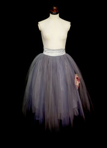 Grey Tulle Peony Illusion Skirt
