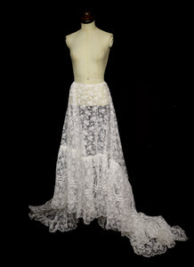 Vintage 1960s Ivory Lace Bridal Skirt