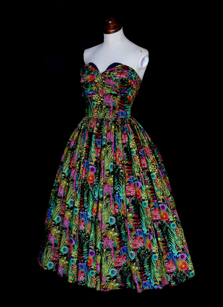 Liberty London print strapless cocktail dress with hand draped sweetheart bodice and full 1950s ballerina length skirt. One of a kind by Alexandra King UK