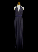 Navy Blue Draped Jersey Goddess Dress