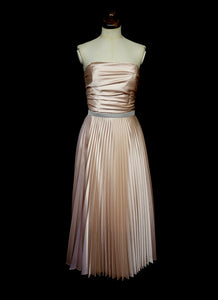 Blush Satin Pleated Cocktail Dress