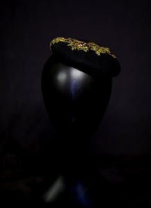 Hat - Small Beaded Black Beret Hat