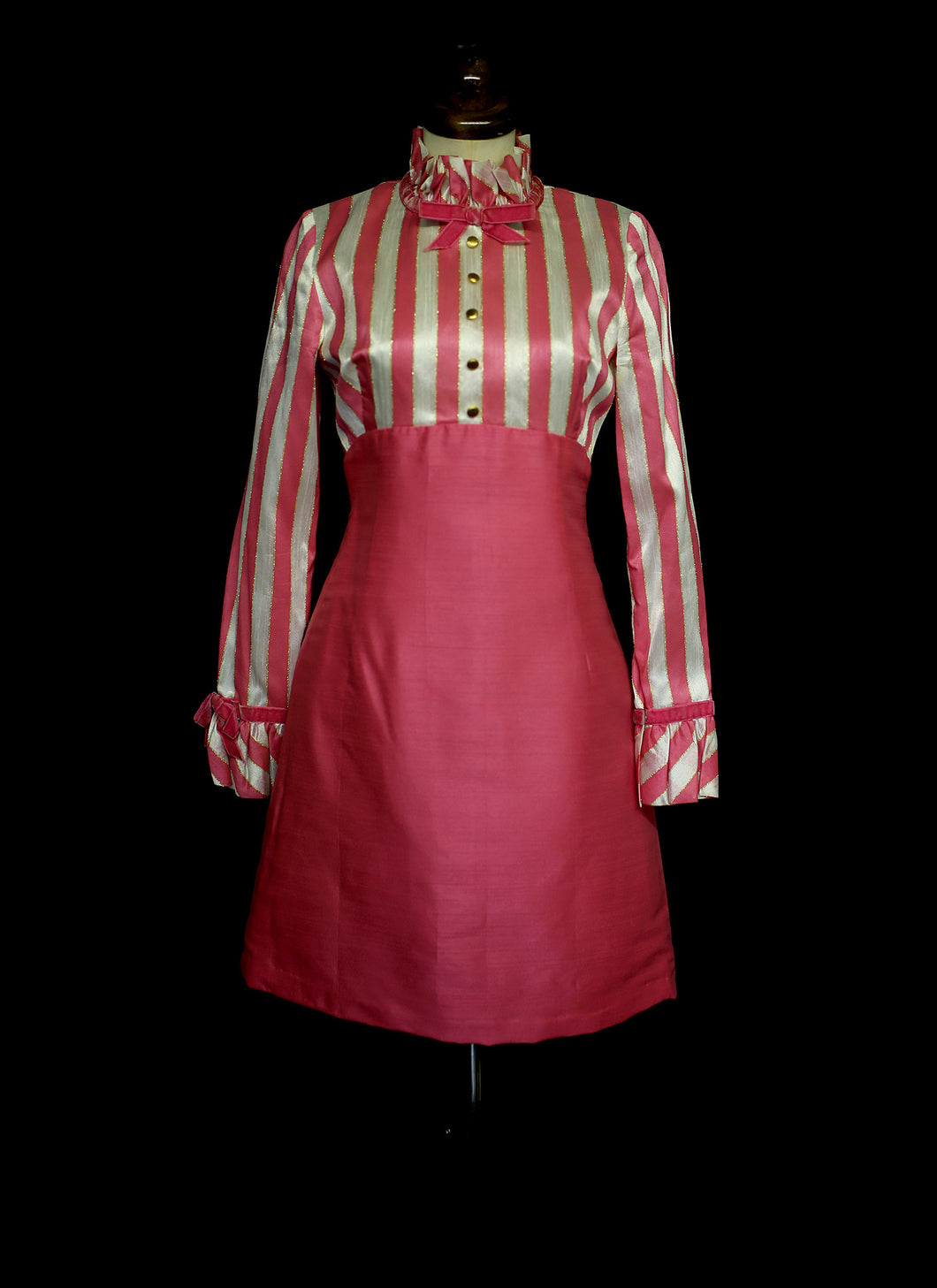 Vintage 1960s Pink Candystripe Mini Dress