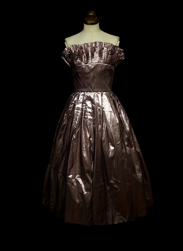 882ef82794e RESERVED Vintage 1980s Pink Metallic Victor Costa Dress and Boa