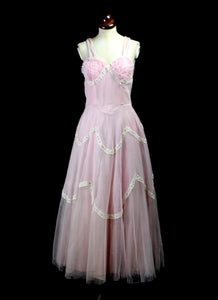 Vintage 1950s Pink Tulle Prom Dress