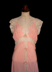 Vintage 1930s Pink Silk Lace Negligee Dress