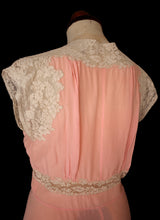 RESERVED Vintage 1930s Pink Silk Lace Negligee Dress