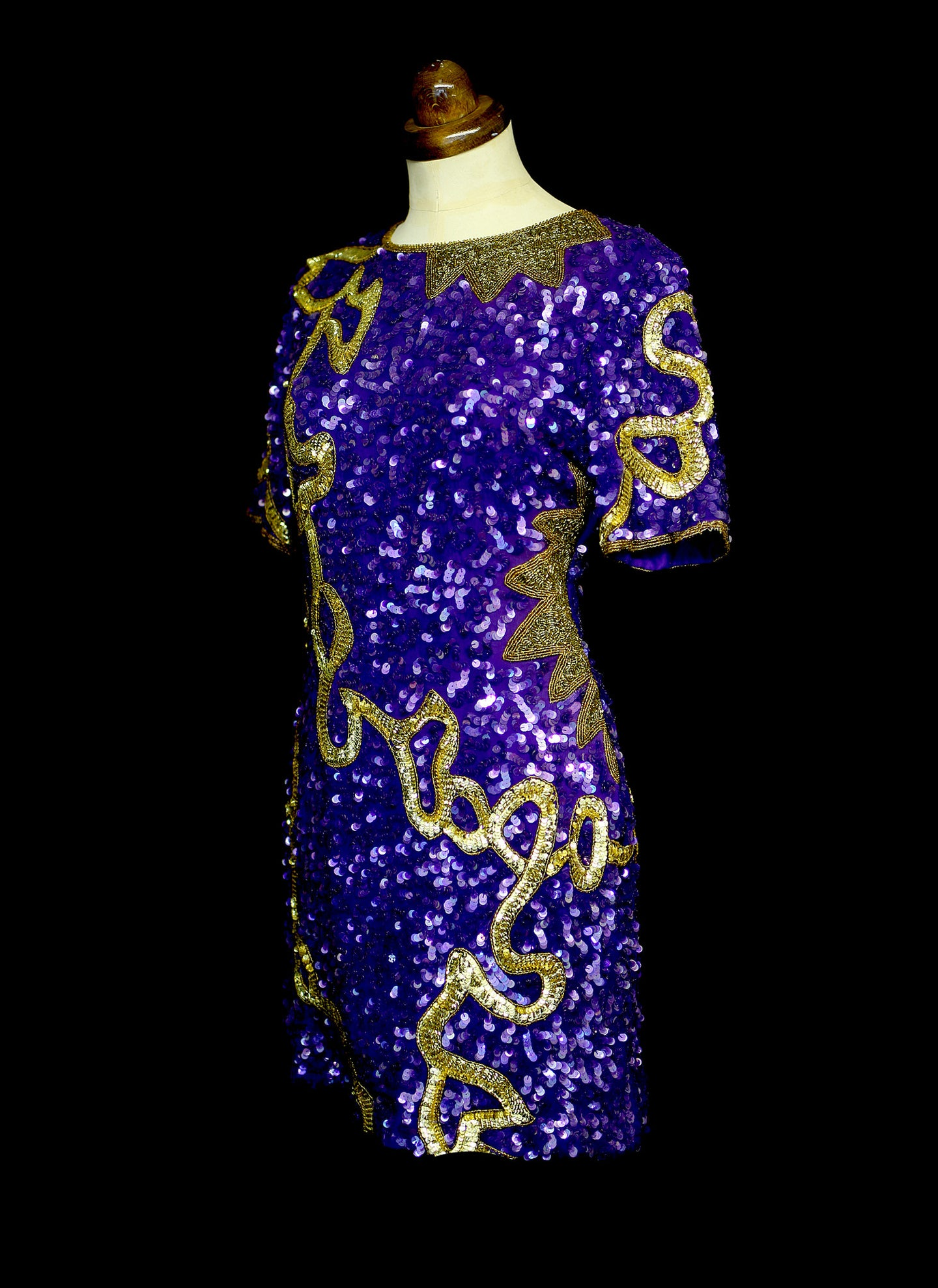 Vintage 1980s Purple Gold Sequin Mini Dress