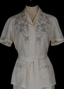 Vintage 1930s Ivory Silk Embroidered Pyjamas