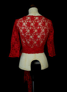 Babette Ballet Wrap Top - Red Lace