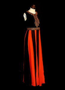 Vintage 1970s Red Black Beaded Chiffon Maxi Dress