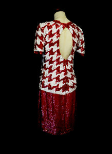 Vintage 1980s Red White Houndstooth Sequin Mod Dress