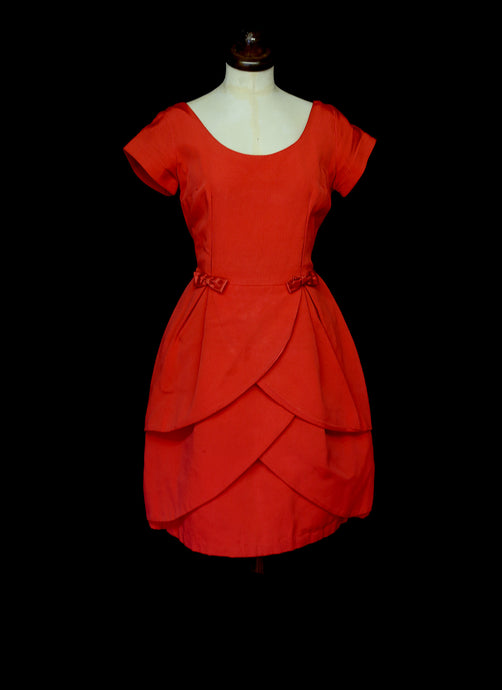 Vintage 1950s Red Grosgrain Dress