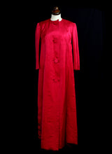 Vintage 1950s Red Satin Opera Maxi Coat