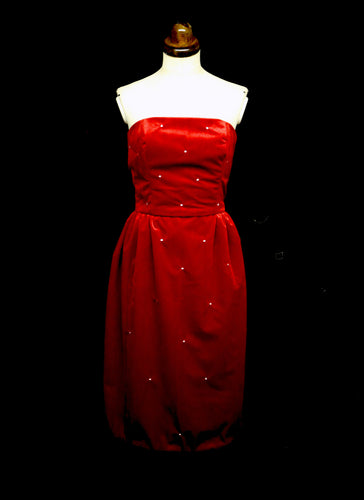 Crimson Red Velvet Cocktail Dress