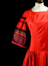 Vintage 1980s Red Stripe Maxi Dress