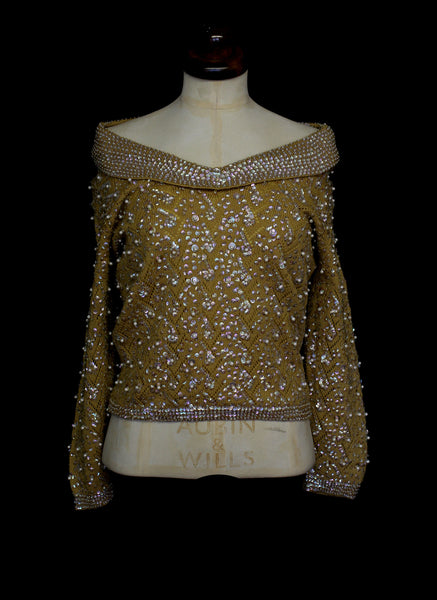 Vintage 1960s Mustard Yellow Sequinned Sweater
