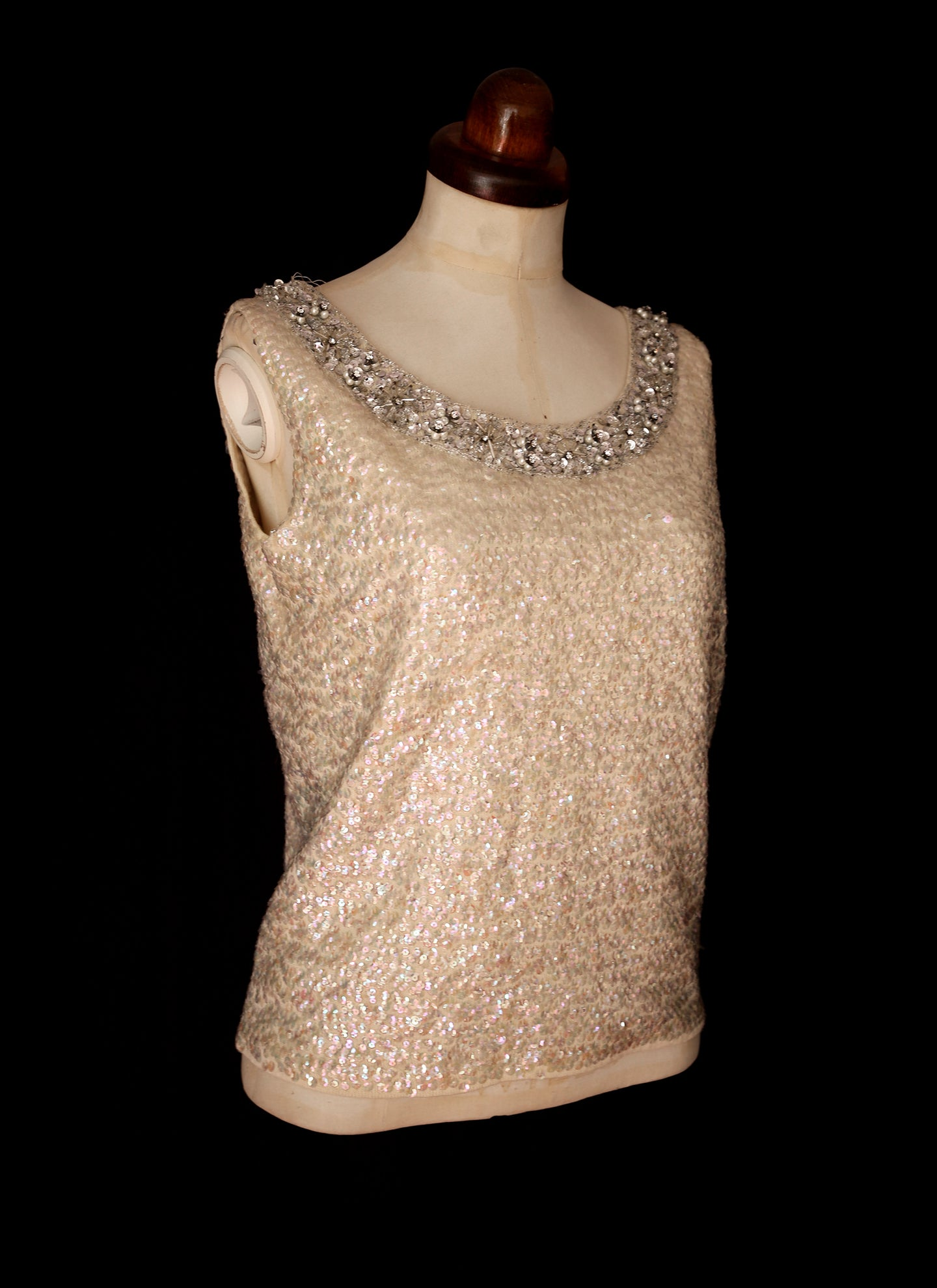 Vintage 1960s Iridescent Ivory Sequin Top
