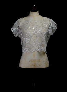 Becca - Silver / Ivory Lace Bridal Crop Top