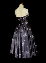 Vintage 1950s Grey Taffeta Cocktail Dress