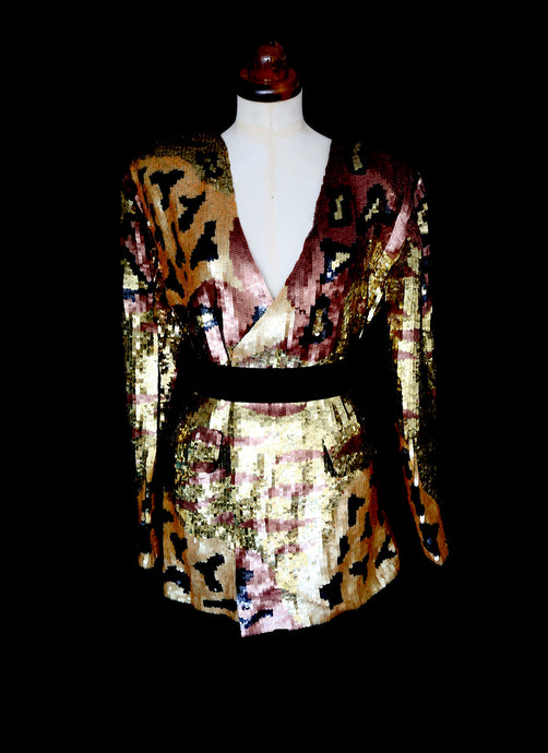 Vintage 1980s Gold Sequin Leopard Tiger Jacket