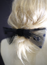 Bow - Black Star Tulle Bow Barrette