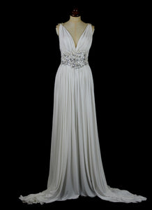 Venus - white beaded silk jersey gown