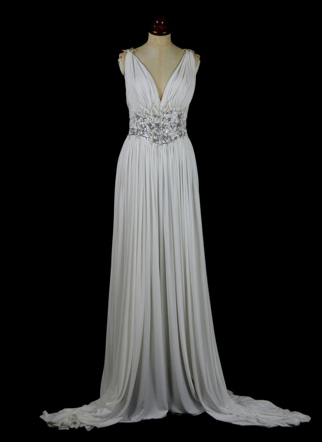 Venus - Draped Jersey Hand Beaded Star Gown