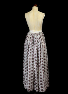 Antique Victorian Red and White Floral Cotton Maxi Skirt
