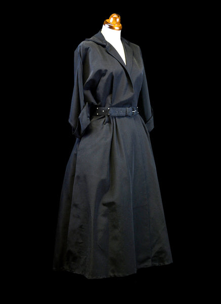 Vintage 1950s Black Gabardine Dress Coat