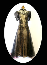 Vintage 1930s Black Lace Evening Dress