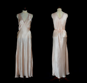 Vintage 1930s Peach Pink Satin Bias Cut Slip Dress