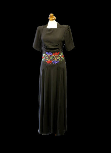 Vintage 1940s Black Embroidered Crepe Dress