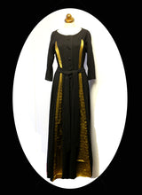 Vintage 1940s Black Gold Wool Dress