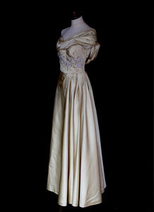 Vintage 1940s Light Gold Beaded Satin Gown