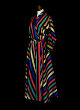 Vintage 1950s Stripe Taffeta Wrap Dress by Maxan