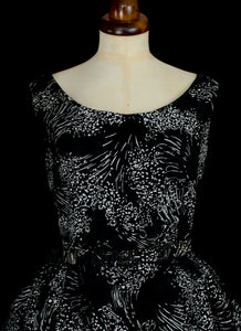 Vintage 1950s Black Printed Party Dress
