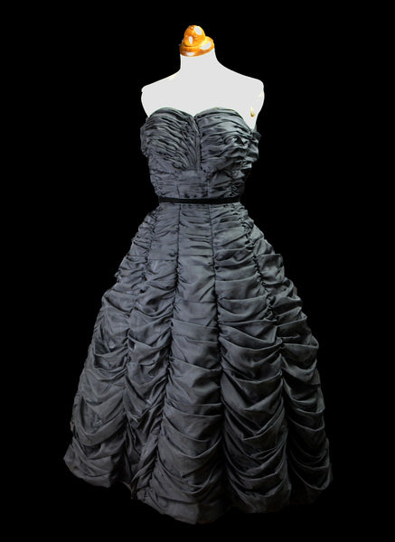 Vintage 1950s Black Nylon Prom Dress