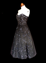 Vintage 1950s Black Sequinned Tulle Cocktail Dress