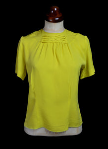 Vintage 1950s Yellow Crepe Top